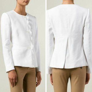 Stella McCartney White Ruffle Front Button Blazer